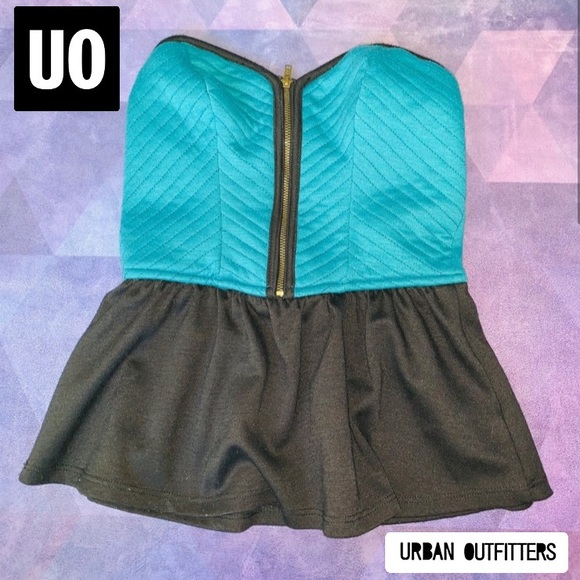 💘 UO PINS AND NEEDLES BUSTIER PEPLUM TUBE TOP